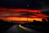 freeway-city-light-trails-sunset-melbourne