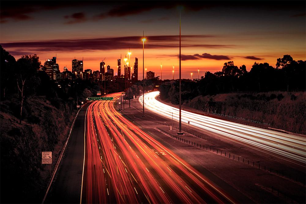 lighttrails-eastern-freeway-melbourne-sunset