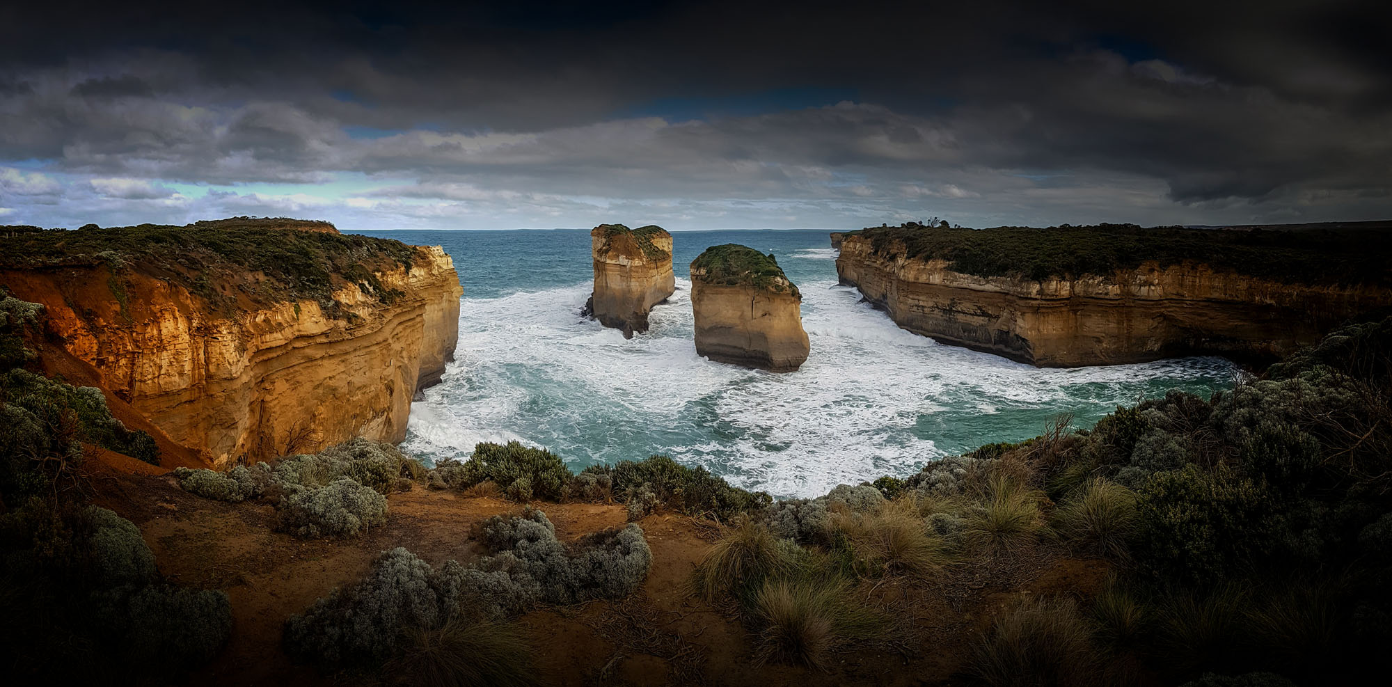 Near Loch Ard Gorge, these two used to be an arch and now they are known as Tom and Eva, the two survivors of the Loch Ard.