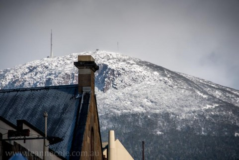Mt Wellington covered in snow.