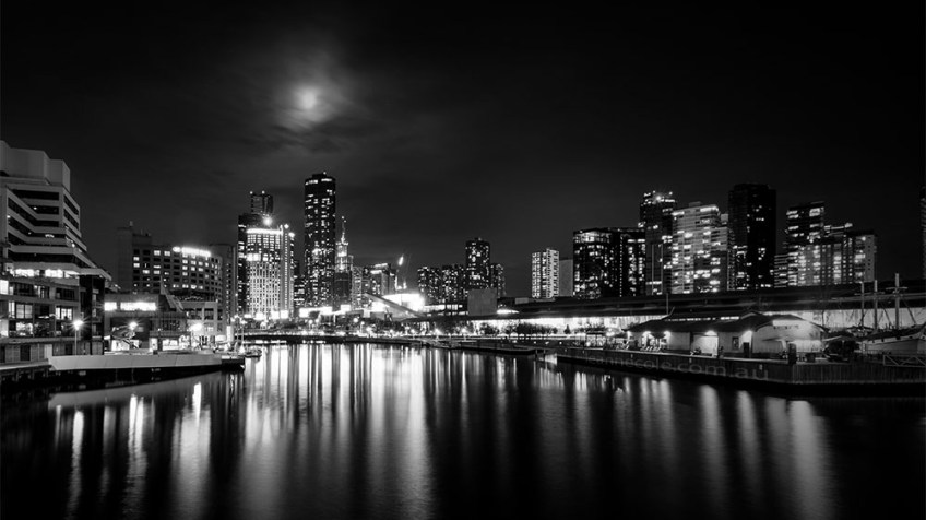 cityscape-docklands-melbourne-night-monochrome