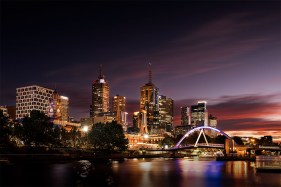 cityscape-melbourne-sunrise-river-bridge