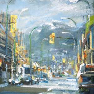 Original oil painting of Marine drive in North Vancouver by Leanne M Christie