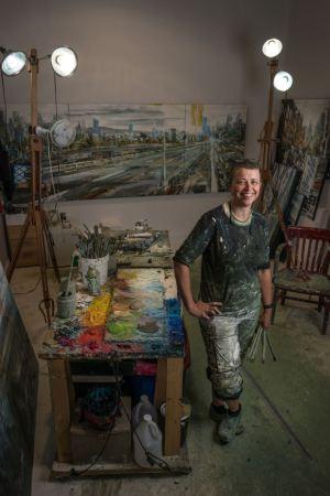 Leanne M Christie in her studio, Photo credit Rennie Brown
