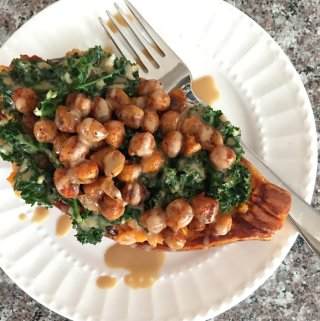 sweet potatoes with kale and chickpeas