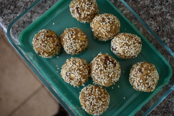 maple tahini snack balls in container