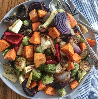 roasted vegetable blend on a plate