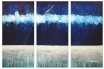 CROPPED Painting triptych - BLUE - Luminous Tranquility
