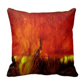 """Designer 2 sided Pillow, Side B, Vibrant RED """"Traveling in Time"""""""