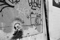 graffiti drawing of a camera