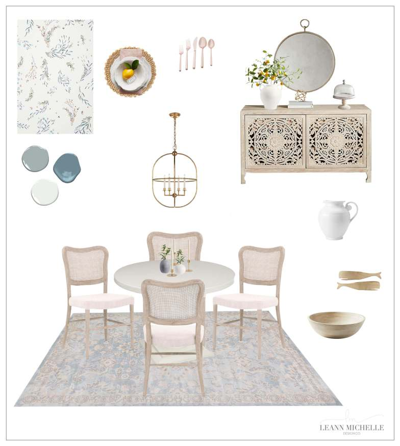 blue and neutral dining room concept board for e-design