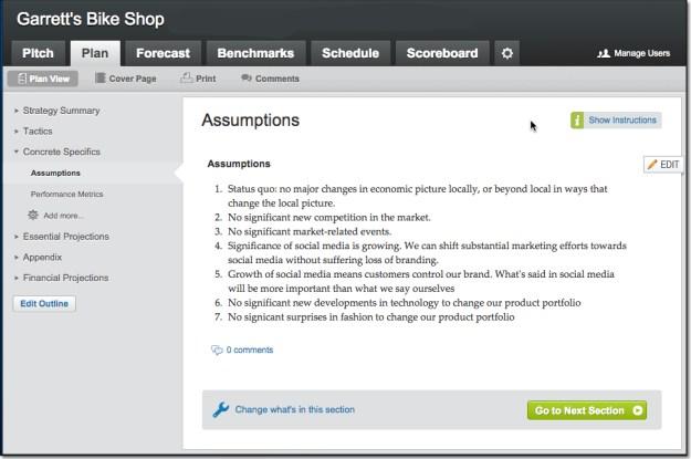 LivePlan Sample Assumptions