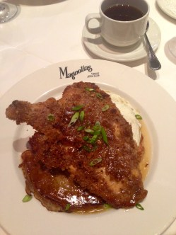Fried chicken and pancakes at Magnolia's.