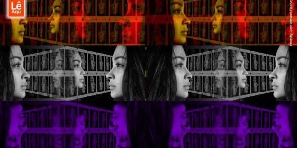 Várias imagens de um mesmo rosto refletidas, mostrando as várias faces que alguém pode ter.