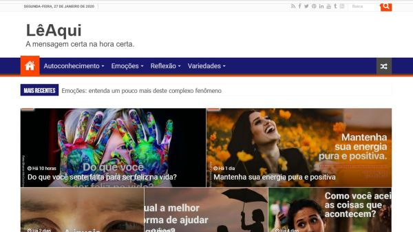Captura de tela da página inicial do novo site.
