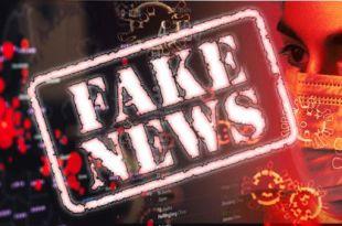 montagem de imagens com gráfico do avanço da covi19 rosto de enfermeira com máscara cirúrgica e ilustrações do coronavírus com um carimbo escrito faknews sobrepondo as imagens par dizer que fake news são um problema sério