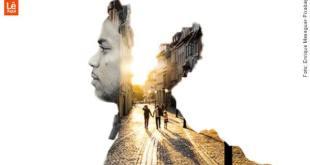 imagem de um homem de perfil onde se funde a imagem de um casal e uma criança de mãos dadas passeiam por uma rua repensar a vida coronavírus