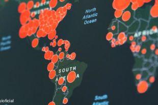 mapa mundial com indicações da infestação do covid19 para ilustrar distanciamento social