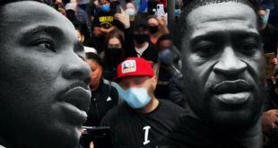 Montagem fotográfica com os rostos de Martin Luther King Jr e sobreposto a uma manifestação Vaticano George Floyd