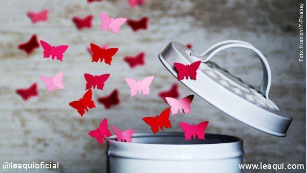 lata com tampa aberta de onde saem borboletas representando a liberação de mágoas pois o perdão abre os caminhos