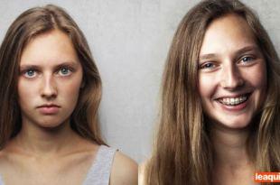 duas imagens de uma mesma mulher uma alegre outra triste alegria e a tristeza