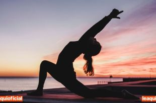 silhueta de mulher praticando Yoga cuidar da saúde
