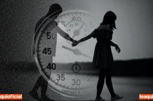 uma mulher puxando pela mão um homem tendo como fundo um cronômetro força coragem fé Trigueiro