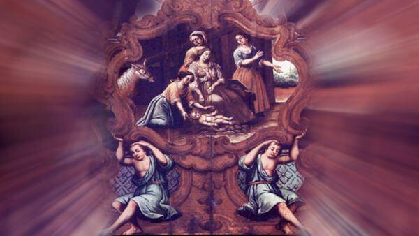 Nascimento de São Francisco. Detalhe do forro junto ao arco cruzeiro do altar-mor, nave principal da igreja do Convento de Santo Antônio da Paraíba. Madeira policromada, autoria incerta mãe de São Francisco