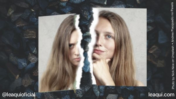 montagem ilustrativa com uma fotografia rasgada ao meio com cada parte demosntrando uma emoção feridas emocionais