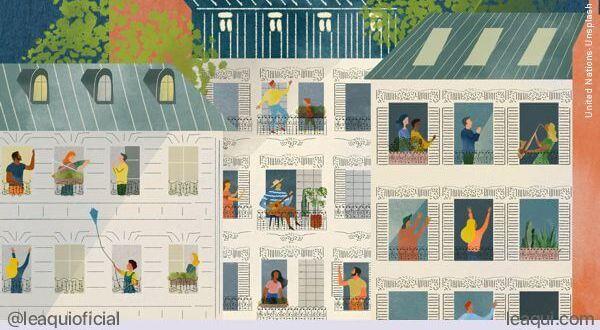 ilustração de uma fachada de um prédio com várias pessoas se auxiliando mutuamente pequenas gentilezas