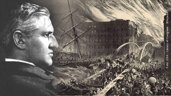 colagem de imagens de naufrágio de navio, incêndio de chicago e perfil de Horatio tragédia hino cristão