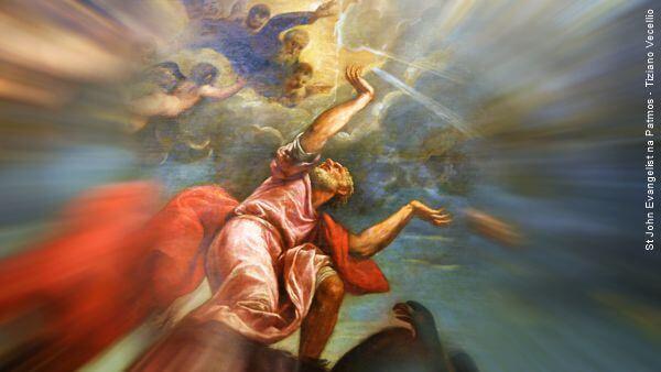 João Evangelista retratado por Tiziano Vecellio na ilha de Patmos