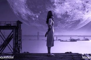 uma moça de perfil em um pir com uma enorme lua logo atrás como um sonho compartilhar sonhos da pandemia