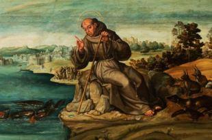 pintura clássica de João Evangelista em sua pregação aos peixes João Apóstolo animais