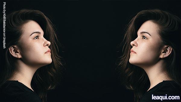 montagem fotográfica de uma moça olhando para ela mesma ao próximo como a si