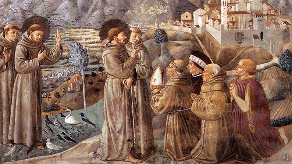 Reprodução do quadro Pregação de São Francisco de Benozzo Gozzoli fé para São Francisco