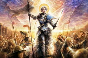 ilustração de Santa Joana D'Arc caminhando sob a batalha com sua espada e estandarte liderando suas tropas Joana D'Arc e a Louca de Paris