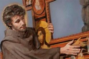 pintura de São Francisco jovem abraçado à crus de São Damião autoconhecimento São Francisco