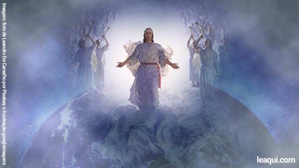 Ilustração de uma figura de Jesus caminhando sob o globo terrestre com os braços abertos ladeado de anjos Ramatis fala sobre Jesus