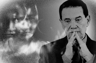 montagem fotográfica com a imagem de Divaldo Franco em primeiro plano com as mãos postas em oração e olhar preocupado e ao fundo imagem representando um obsessor caso de desobsessão