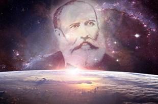 montagem fotográfica do planeta terra com a imagem do retrato de Bezerra de Menezes sobrepondo