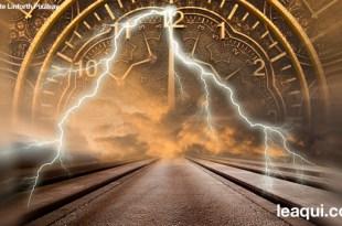 ilustração com uma estrada passando por um relógio os desvios da humanidade que atrasam a felicidade