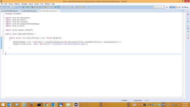 Screenshot using Robot class