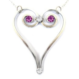 Heart Necklace Silver Amethyst Main