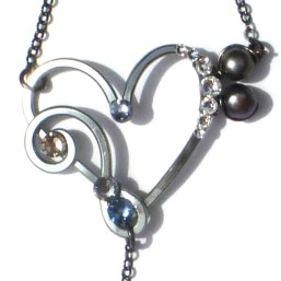 Heart Treble Bass Clef Ring Bracelet Charcoal Steel