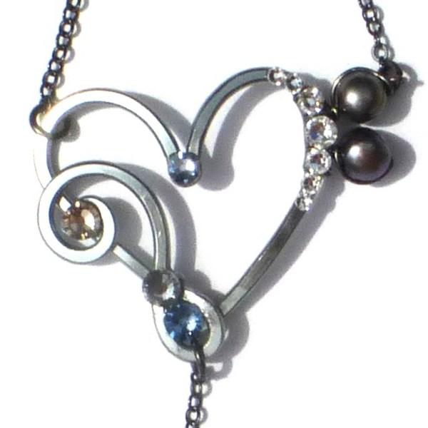 Heart Treble Bass Clef Ring Bracelet Charcoal Steel