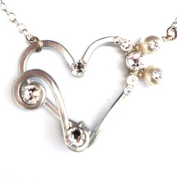 Heart Treble Bass Clef Silver Moonbeams