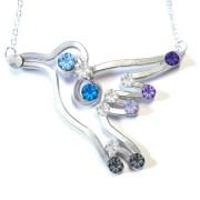 Hummingbird Necklace Silver Hydrangea