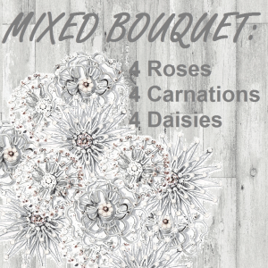 Immortal Mixed Flower Bouquet - Fossilized Roses, Carnations and Daisies