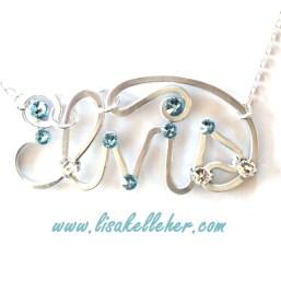 Name Elvis Necklace Silver Aquamarine